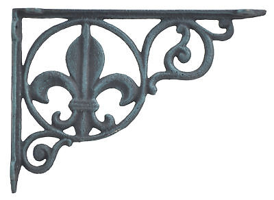 Wall Shelf Bracket Brace Fleur De Lis Verdigris Cast Iron Home Decor 8.625""