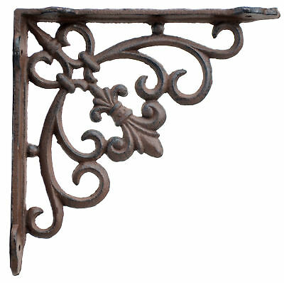 Fleur De Lis Wall Shelf Bracket Cast Iron Ornate Brace DIY Craft Supply 7.5""