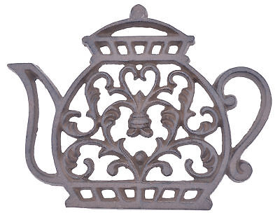 Tea Kettle Trivet Ornate Decorative Cast Iron Kitchen Decor Hot Pad 7.25""