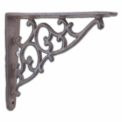 "Decorative Cast Iron Wall Shelf Bracket Ornate Vine Rust Brown Brace 7.125"" Deep"