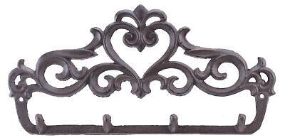 "Cast Iron Wall Hook Rack Ornate Victorian 4 Key Hooks 12"" Wide Hang Coats Towels"