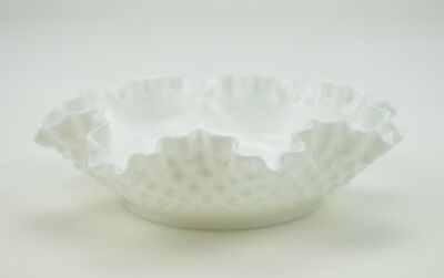 Vintage Fenton Art Glass Bon Bon Dish Milk Glass Hobnail Collectible Candy Decor