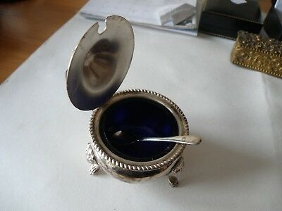 Vintage Silver plated Mustard Pot & Spoon with Cobalt Blue Glass Liner