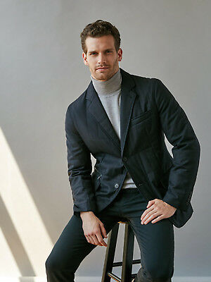 Men's Nwt Bugatchi Quilted Wool Blaser Jacket; Size Large; Navy Blue; Msrp $460
