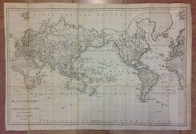 PLANISPHERE DATED 1810 by POIRSON VERY LARGE ANTIQUE COPPER ENGRAVED MAP