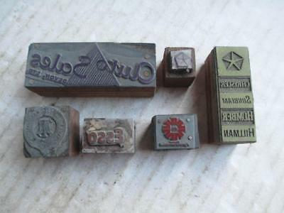 6 Vintage Printing Blocks Car Related- Esso Chryler Hillman Auto Sales Etc.