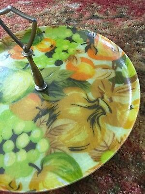 Vintage mid century fiberglass serving tray tidbit 1 tier pomegranate fruit fun