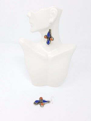 Vintage Afghan Kuchi Earrings Afghan Jewelry , lapis and coral stone gypsy