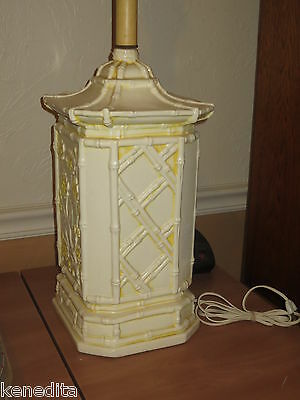 Pagoda Faux Bamboo Table Lamp Oriental Palm Beach Hollywood Regency Fretwork