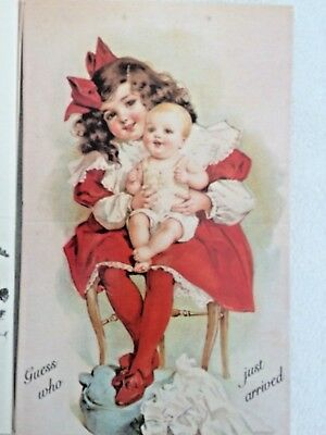 6 VTG GUESS WHO JUST ARRIVED Baby Birth Announcements VICTORIAN CHILD CARDS