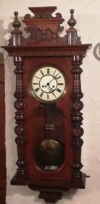 Gustav Becker c1900 Large Wooden Cased Vienna 2 Train Wall Clock - Working