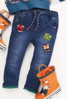 NEXT Boys Jeans Animal Badge Tiger Dinosaur Age 12-18 1.5-2 Years BNWT Jersey