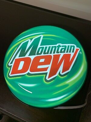 """VINTAGE Lighted Bar Sign MOUNTAIN DEW Bubble Sign with Metal Back. 16"""" Diameter"""