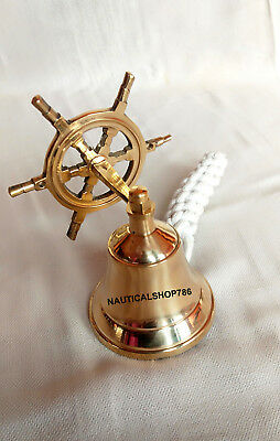 Brass Nautical Marine Wheel Ship Bell Wall Hanging Door Bell Home Decor