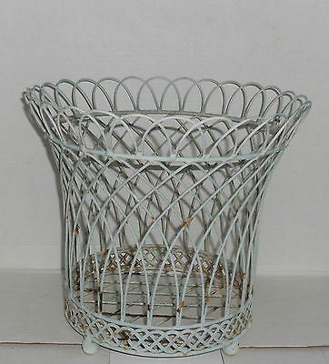Vintage Metal Wire Planter Plant Holder Waste Basket Shabby Patio