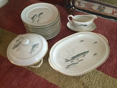 Vintage THOMAS Ivory Germany Fish  Porcelain Dinnerware RARE