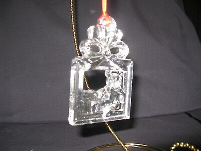 Gorham Crystal Ornament: Teddy Bear Package with Red Ribbon