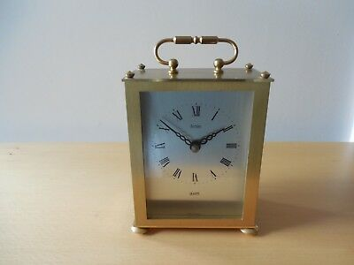 Vtg Acctim, Brushed Brass Cased Carriage Clock, Quartz Movement, Made in Germany