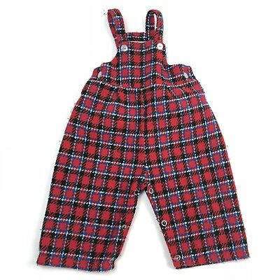 Vintage 1950s Baby Infant Overalls Red Plaid 12 Months