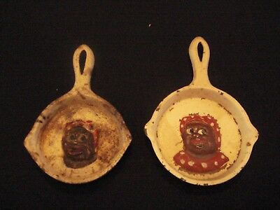 Set of 2 ANTIQUE MINI BLACK AMERICANA CAST IRON SKILLET / PAN MAMMY ASHTRAYS #8