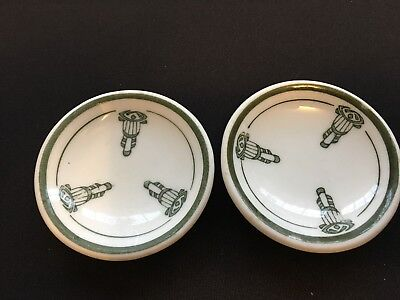 Set of 2 Butter Pats - Olive Green Decoration & Pin Stripes - Unknown Maker..