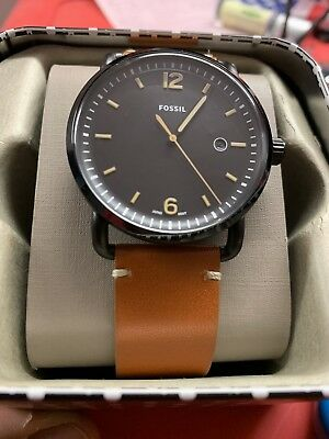 91c122508dee Fossil Men s FS5276 The Commuter Three-Hand Date Luggage Leather Watch