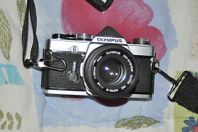 Olympus OM-1n 35mm Camera with 50mm 1:1.8 lens & Strap Untested