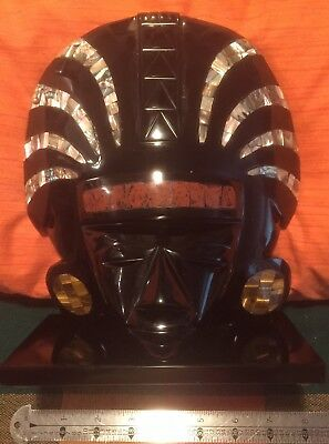 Aztec Mayan Mexican OBSIDIAN CARVING Tiger Eye + Mother of Pearl + More Inlays