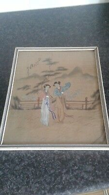 antique Chinese painting on silk signed