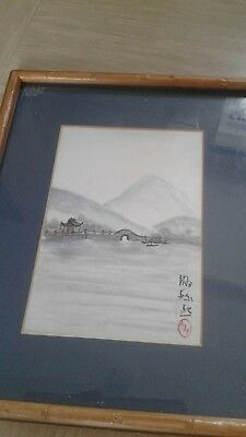 vintage Chinese painting On the Huanghe River signed Josephine Fey