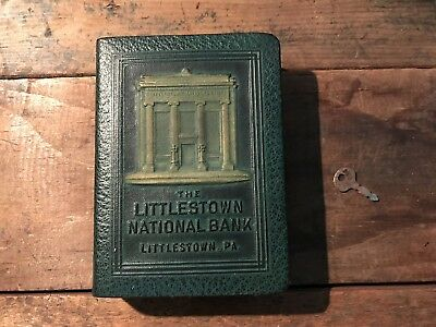 Littlestown PA National Bank Book Bank Leather Covered Metal Bank NO RESERVE