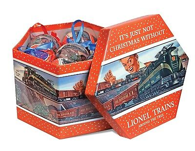 LIONEL TRAIN CHRISTMAS ORNAMENTS, SET OF 14- NEW IN SEALED BOX, Post War Design