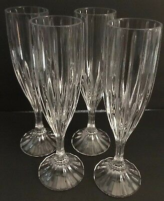 "Set Of Four (4) Mikasa Park Lane Crystal Champagne Flutes 8 3/4"" Tall"