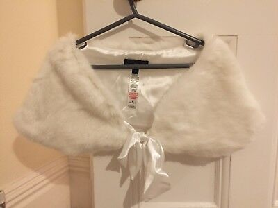 Faux Fur Shrug White Dorothy Perkins Slightly Used Small