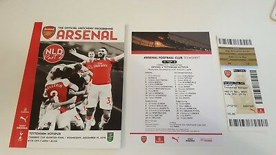 Arsenal v Tottenham Hotspur Carabao Cup Programme, Ticket & Team Sheet Mint cond