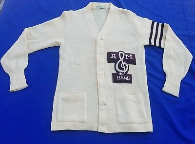 Vintage Texas A&M Band Button Front 2 Pocket Sweater Size 40