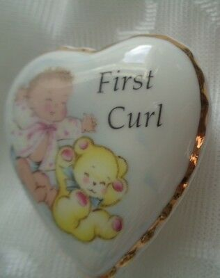 Falcon China. Staffordshire. Babies First Curl lidded Heart Pot.
