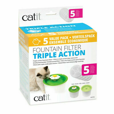 Catit Cat Drinking Water Flower Fountain Triple Action Replacement Filters x 5