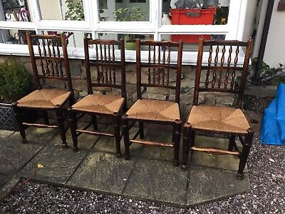 Four Early 19th Century Oak Spindle Back Lancashire Dining Chairs Wicker Seats.