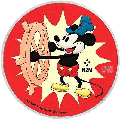 2017 1 OZ SILVER Niue $2 STEAMBOAT WILLIE Coin.