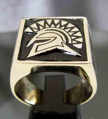 Bronze Mens Square Signet Ring Spartan Gladiator Greek Warrior Black Size 9