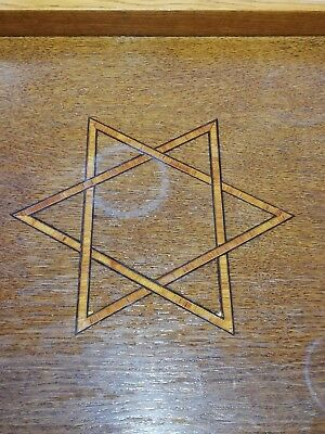 Rare Antique 'Star Of David' Wooden Inlay Butlers Tray, Dovetail Joints. 53x23cm