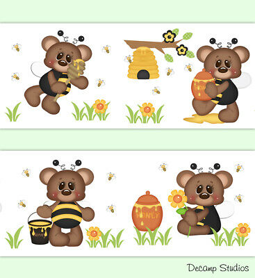 Teddy Bear Bee Baby Girl Nursery Wallpaper Border Wall Art Decals Kids Room