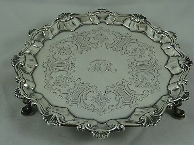 GEORGE III solid silver SALVER , 1764, 259gm