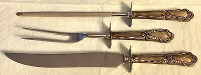 Antique Sterling Silver H'DLF Three Piece Carving Set