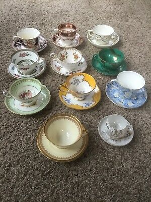 Antique Set Of 11 Different Tea Cups And Saucers, Great Collectors Item!