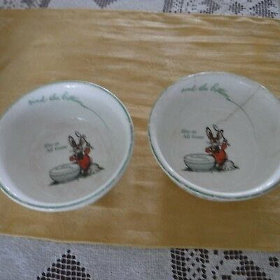 "2 - Antique 1925 Ralston Purina Co. ""Find The Bottom...Umm...Good""  Rabbit Bowls"