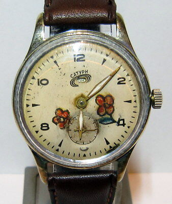Vintage Early Russian Men's Watch Saturn With Nice Hand Painting Dial,rare # 467