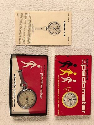Vintage New Haven 100 mile Pedometer Model 230 with Box Booklet And Clip