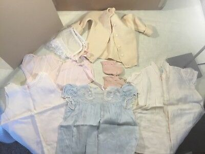 Vintage baby clothes or doll dress sweater booties slip bonnet